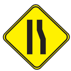 Traffic sign of Uruguay: Warning for a road narrowing on the right