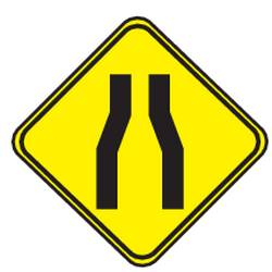 Traffic sign of Uruguay: Warning for a road narrowing
