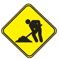 Traffic sign of Uruguay: Warning for roadworks