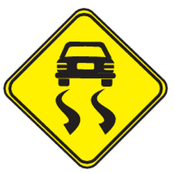 Traffic sign of Uruguay: Warning for a slippery road surface