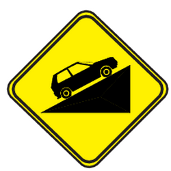 Traffic sign of Uruguay: Warning for a steep ascent