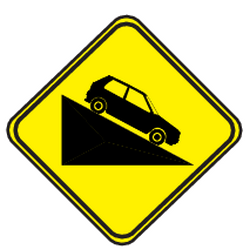 Traffic sign of Uruguay: Warning for a steep descent