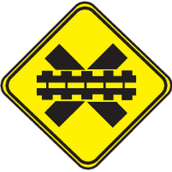 Traffic sign of Uruguay: Warning for a railroad crossing without barriers