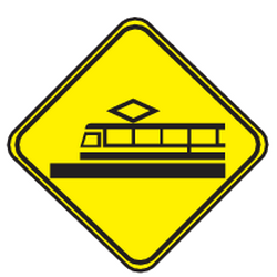 Traffic sign of Uruguay: Warning for trams