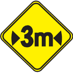 Traffic sign of Uruguay: Warning for a limited width
